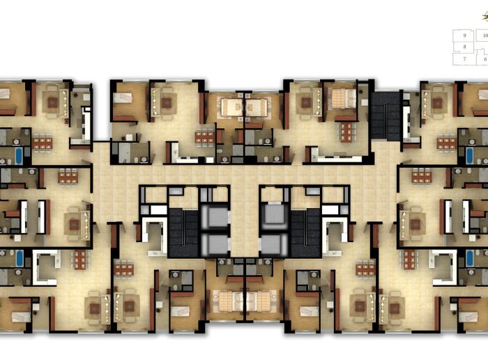 Typical Floor plan 3D rendering at Ho Chi Minh, Vietnam