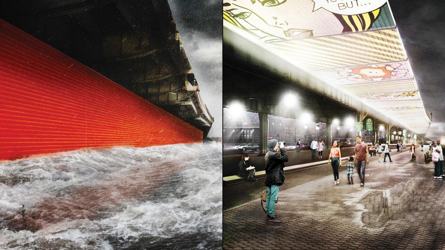 """""""The Downs Flip"""" bức tường triển khai để bảo vệ lũ lụt"""