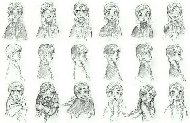 2D sketch Anna from Disney phim hoạt hình 3D Frozen