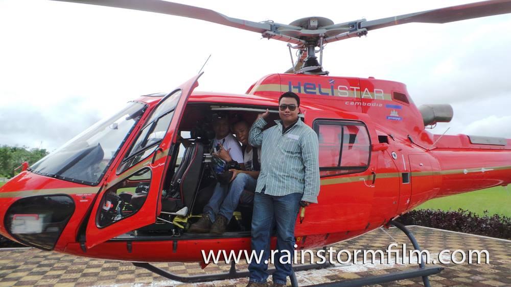 Rainstorm Film cùng đồng đội thực hiện quay phim trên không từ trực thăng tại Cam Pu Chia