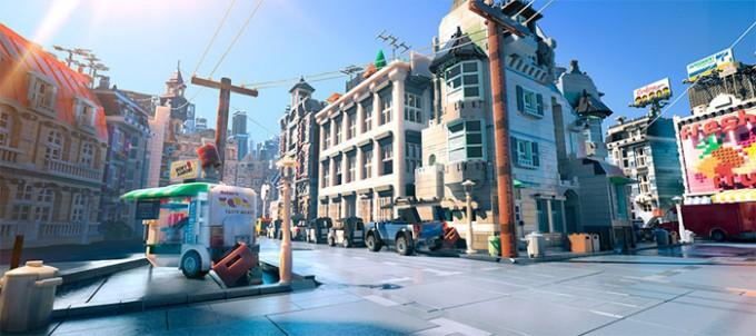 Thành phố Brickburg trong phim được thiết kế đồ họa 3D